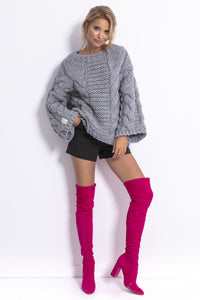 F780 Chunky Knit Jumper In Grey