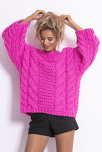 F780 Chunky Knit Jumper In Pink