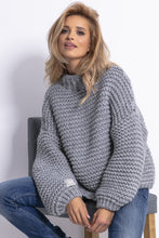 F790 Chunky Knit High-Neck Sweater In Grey
