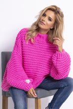 F790 Chunky Knit High-Neck Sweater In Pink