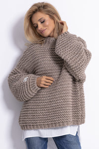 F790 Chunky Knit High-Neck Sweater In Brown