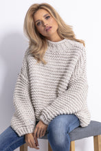 F790 Chunky Knit High-Neck Sweater In Beige-Melange