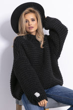 F790 Chunky Knit High-Neck Sweater In Black