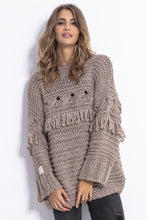 F820 Chunky Knit Long Jumper In Brown
