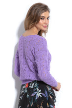 F1003 Sweater With Eyelet Stitching In Purple
