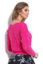 F1003 Sweater With Eyelet Stitching In Pink