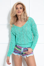 F1003 Sweater With Eyelet Stitching In Green
