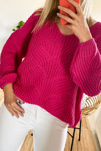 F1008 Sweater With Patterned Knit In Pink