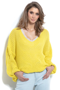 F1008 Sweater With Patterned Knit In Yellow