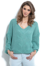 F1008 Sweater With Patterned Knit In Green
