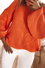 F1008 Sweater With Patterned Knit In Orange