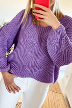 F1008 Sweater With Patterned Knit In Purple