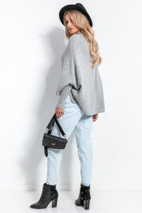 F1053 High Neck Asymmetric Wool Jumper In Grey
