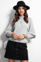 F1087 High Neck Sweater In Grey
