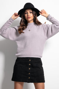 F1087 High Neck Fluffy Knit Sweater In Purple