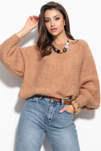 F1102 Oversized Wide Knit Jumper In Carmel