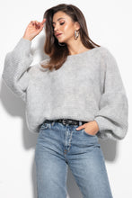 F1102 Oversized Wide Sweater In Grey
