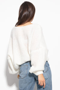 F1102 Oversized Wide Sweater In Ecru
