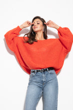 F1102 Oversized Wide Sweater In Orange
