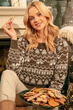 F1136 Christmas Sweater In Brown