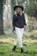 F591 Oversized High-Neck Cable-Knitted Alpaca-Blend Jumper In Black