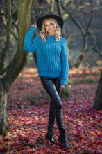 F591 Oversized High-Neck Cable-Knitted Sweater In Blue