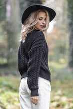 F591 Oversized High-Neck Cable-Knitted Sweater In Black