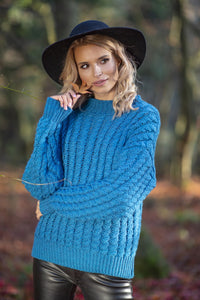 F591 Oversized High-Neck Cable-Knitted Alpaca-Blend Jumper In Blue
