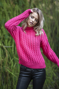 F591 Oversized High-Neck Cable-Knitted Sweater In Pink