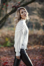 F591 Oversized High-Neck Cable-Knitted Alpaca-Blend Sweater In Ecru