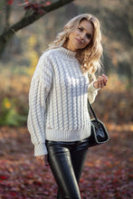 F591 Oversized High-Neck Cable-Knitted Sweater In Ecru