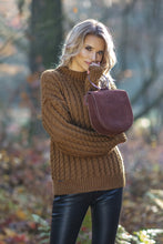 F591 Oversized High-Neck Cable-Knitted Sweater In Carmel