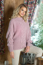 F612 High-Neck Glitter Sweater In Dusty Pink