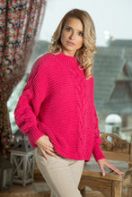 F612 High-Neck Glitter Sweater In Pink