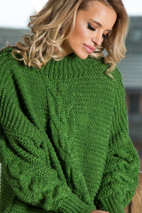 F612 High-Neck Alpaca-Blend Glitter Sweater In Green