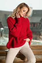 F612 High-Neck Alpaca-Blend Glitter Sweater In Red