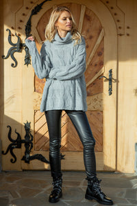 F616 Oversized Cable-Knit Roll-Neck Jumper In Grey