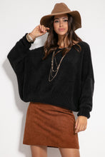F1070 Oversized Wide Fluffy Knit Jumper In Black