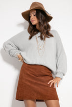 F1070 Oversized Wide Sweater In Grey