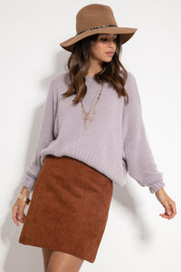 F1070 Oversized Wide Fluffy Knit Jumper In Purple