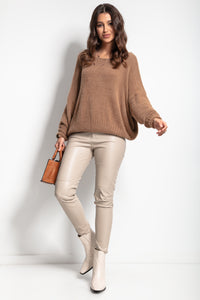 F1070 Oversized Wide Fluffy Knit Jumper In Carmel