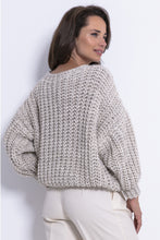 F772 Chunky Knit Oversized Jumper In Beige