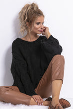 F776 Alpaca-Blend Chunky Knit Jumper In Black