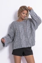 F776 Chunky Knit Jumper In Gray