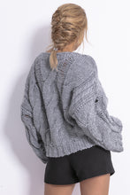 F776 Chunky Knit Jumper In Grey