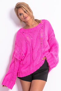 F776 Cable Chunky Knit Alpaca-Blend Jumper In Pink