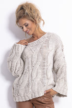 F776 Chunky Knit Jumper In Beige