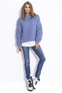 F810 Chunky Knit Jumper In Blue