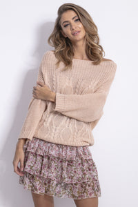 F836 Cable-Knitted Sweater In Apricot