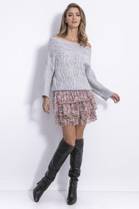 F836 Cable-Knitted Jumper In Grey